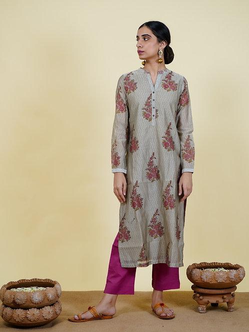 Chacha's 101925 printed chanderi silk kurta