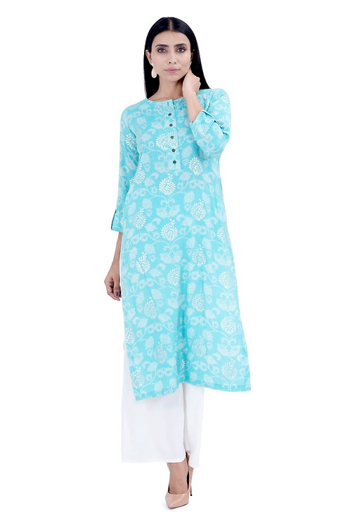 Chacha's120029 block and foil printed rayon kurta