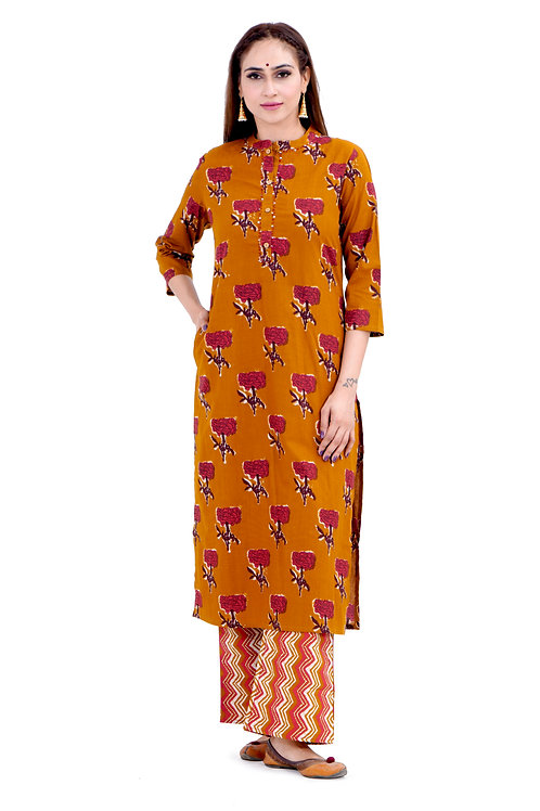 Chacha's1001285 Block printed kurta with palazzo pants
