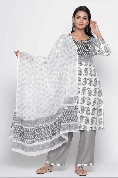 Chacha's101755 printed cotton kurta with printed dupatta and solid palazzo pants