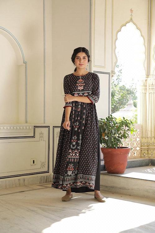Chacha's 21296 printed muslin silk Anarkali kurta