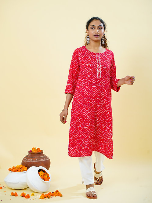 Chacha's 101803 tie&dye print kurta with solid white straight pants.