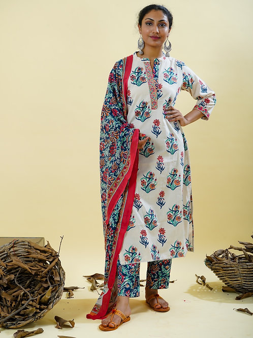 Chacha's 101833 Block printed kurta set with dupatta