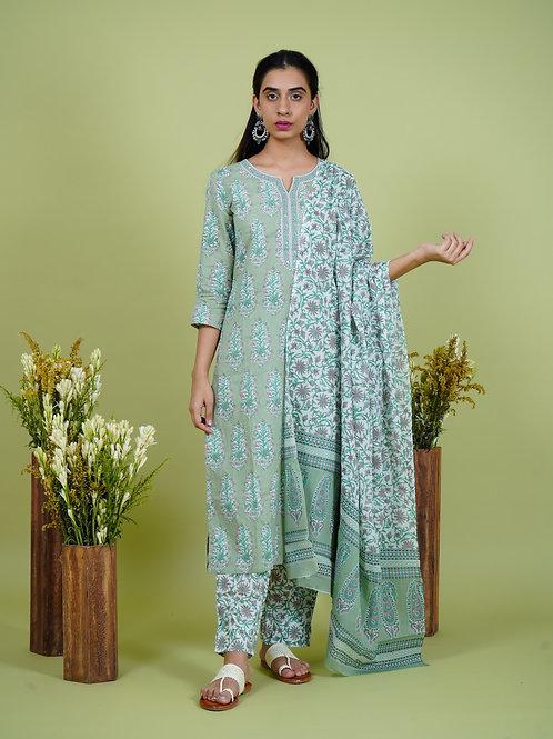 Chacha's 101906 Printed cotton kurta set with dupatta