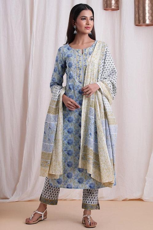 Chacha's 101875 printed cotton kurta set with dupatta