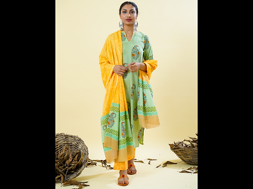Chacha's 180126 block printed kurta with printed palazzo pants and dupatta