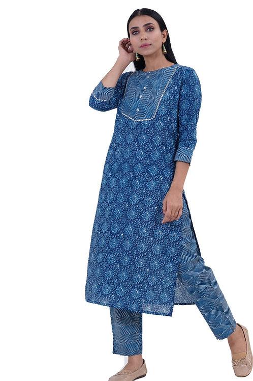 Chacha's101709 Shibori print cotton kurta pants se