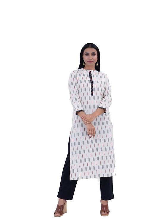 Chacha's101710 Ikkat print cotton kurta with cotton pants