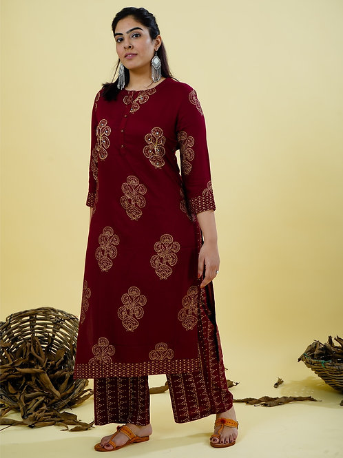 Chacha's 101841 foil printed rayon kurta set with embroidery