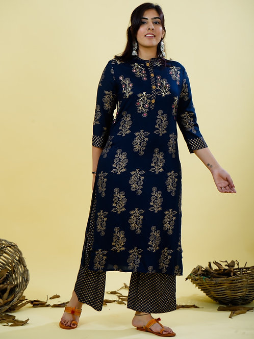 Chacha's 180142 foil printed rayon kurta set with embroidery