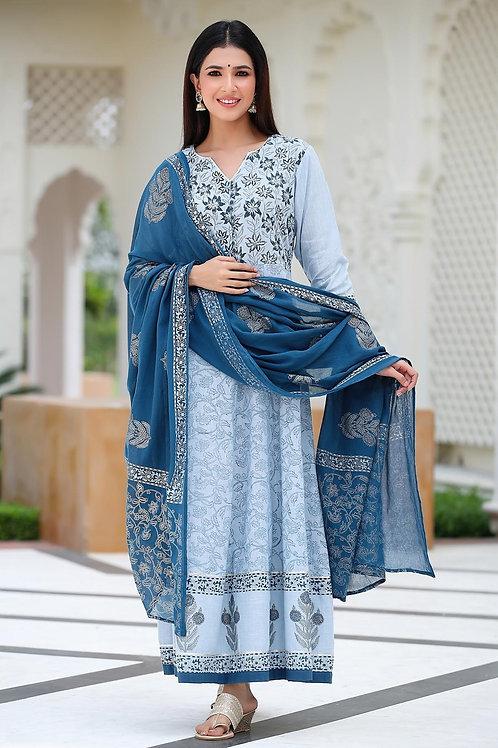 Chacha's 101860 A-line cotton kurta with dupatta
