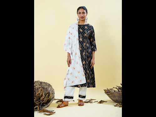 Chacha's 180121 rayon foil printed kurta with pants and stole