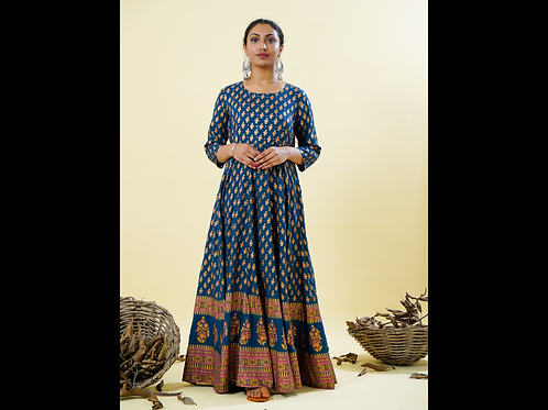 Chacha's 101831 printed rayon A-line kurta with mirror embroidery detailing