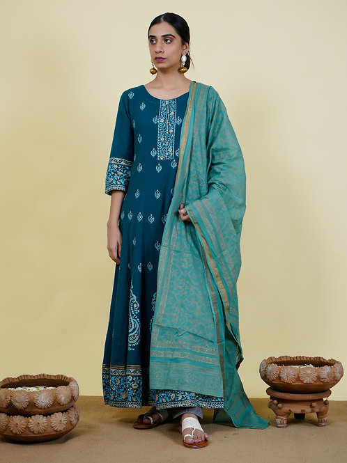 Chacha's 101914 cotton silk A-line kurta with dupatta