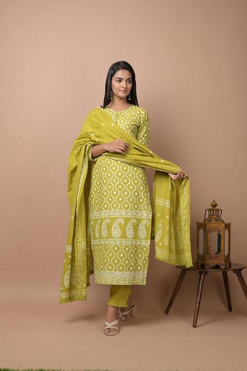 Chacha's 101760 printed cotton kurta set with dupatta