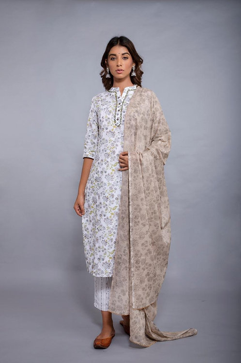 Chacha's 101781 printed kurta set with contrast dupatta