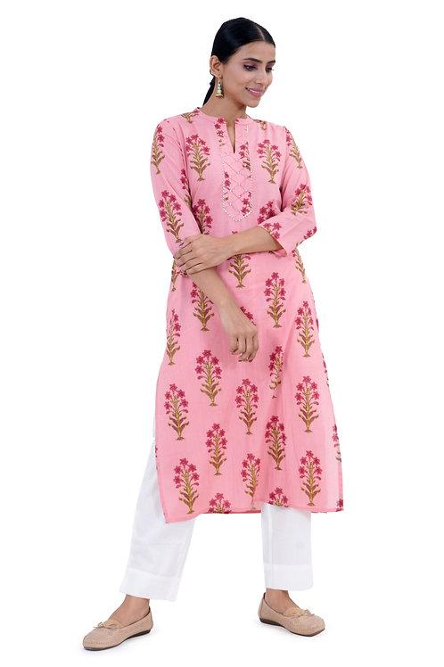 Chacha's101731 Printed kurta with white palazzo pants