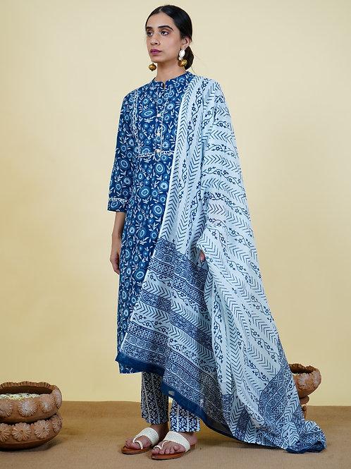 Chacha's 101928 printed cotton kurta set with dupatta