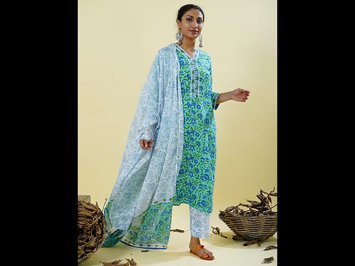 Chacha's 101829 printed cotton kurta set with dupatta