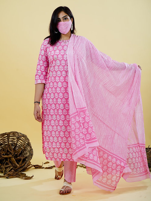 Chacha's 101837 Block printed kurta set with dupatta