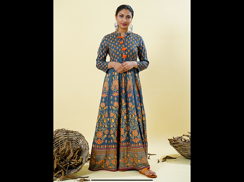 Chacha's 101830 long A-Line rayon kurta with thread embroidery detailing.