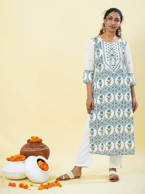 Chacha's 101810 printed kurta with thread embroidery detailing