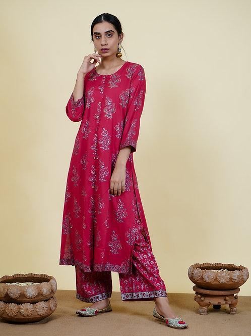 Chacha's 101915 printed cotton silk kurta set