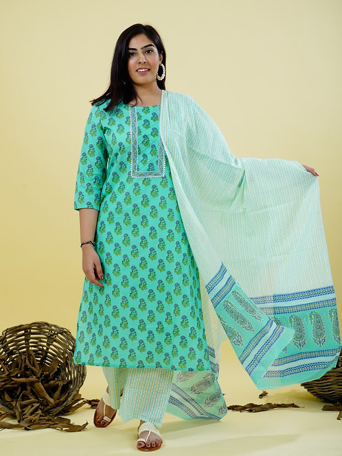 Chacha's 101840 printed cotton kurta set with dupatta