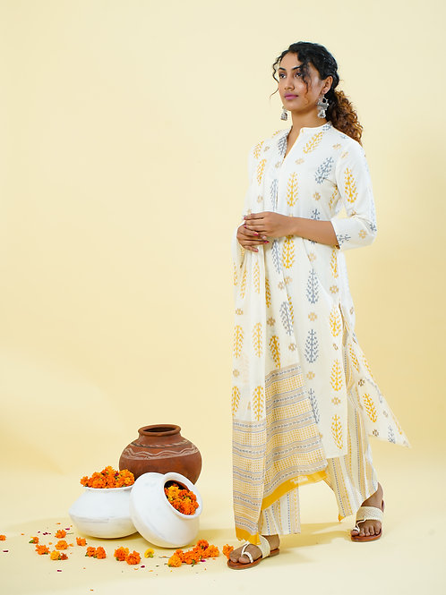 Chacha's 101801 cotton kurta with palazzo pants and dupatta