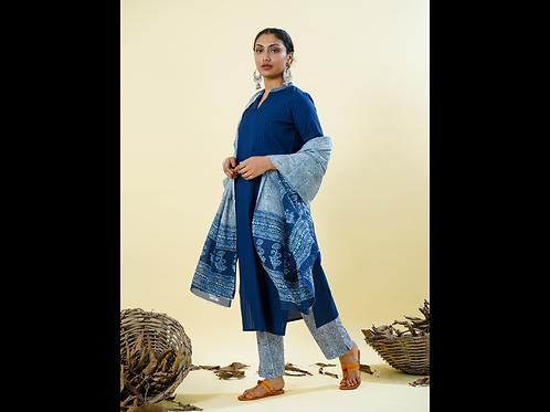 Chacha's 101824 Cotton pintex kurta with printed palazzo pants and dupatta