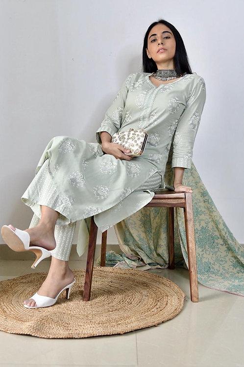 Chacha's 1001421 printed cotton kurta set
