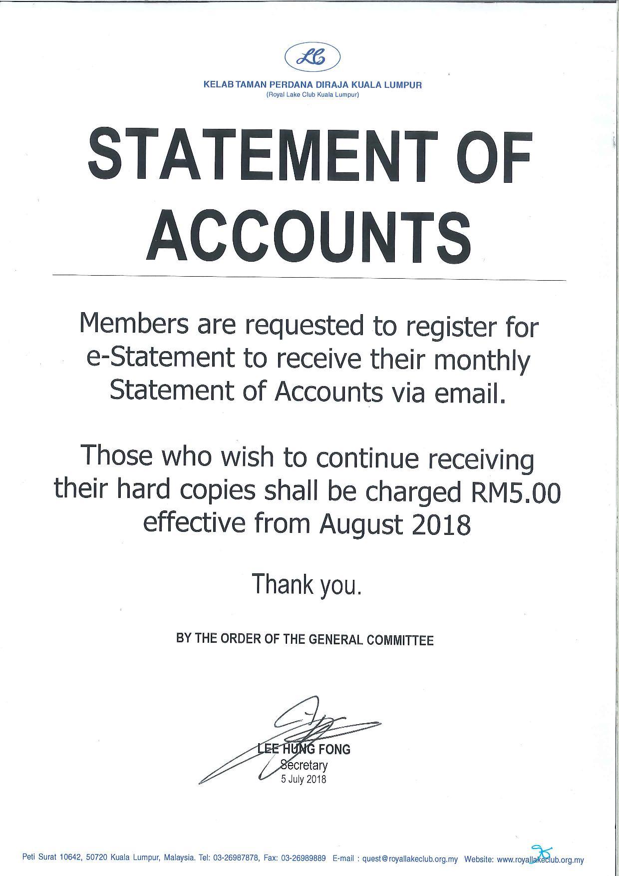 Statement notice