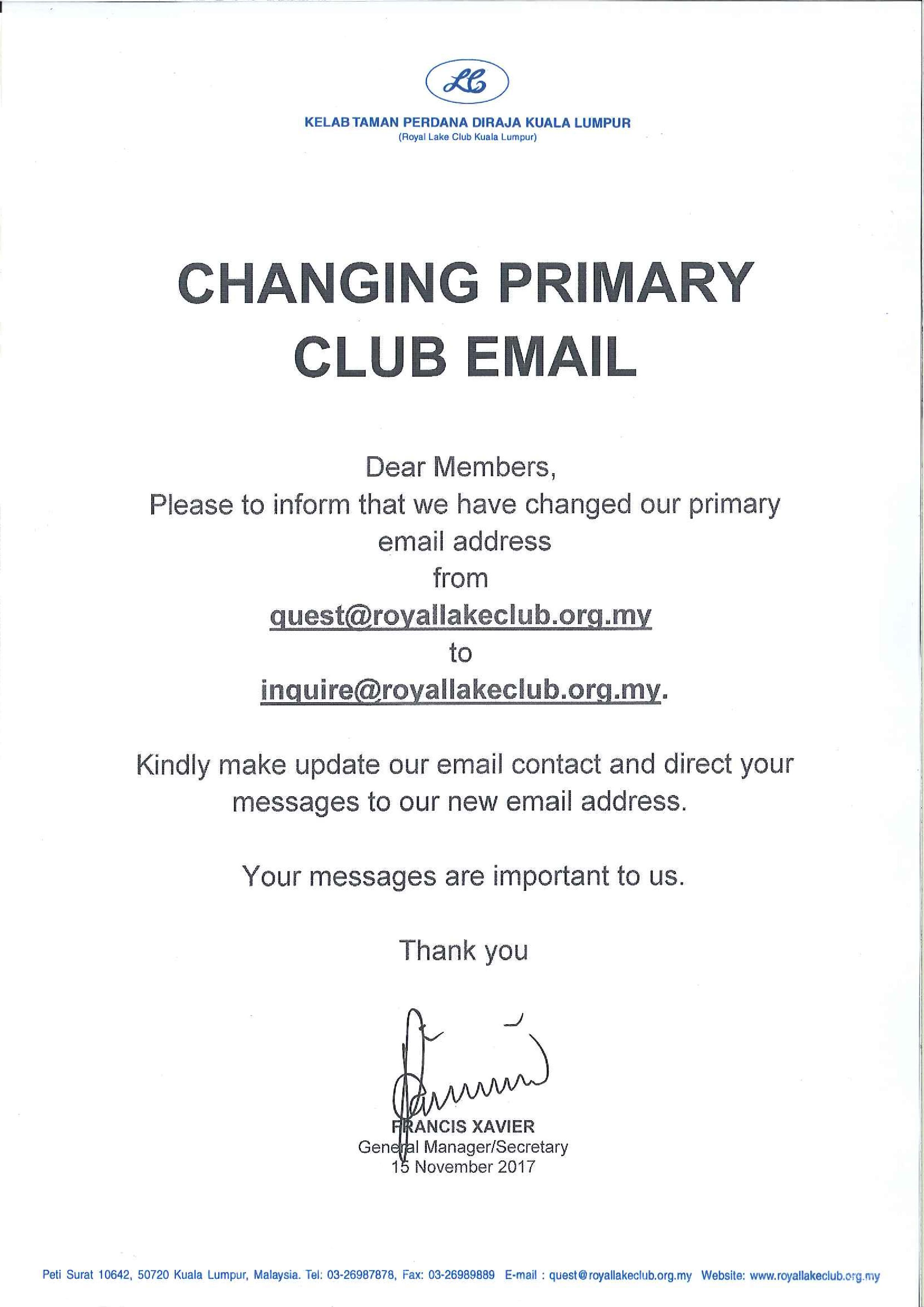 Notice Change Email
