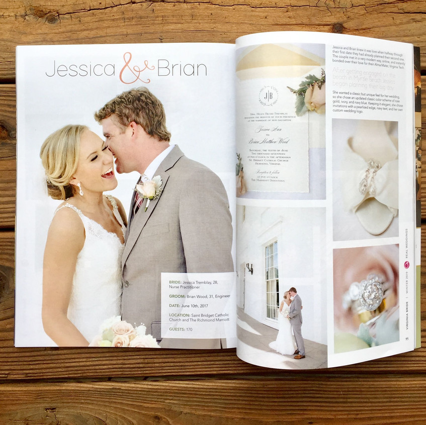 Jessica and Brian's wedding was selected for Virginia Bride Magazines Winter 2019 issue.