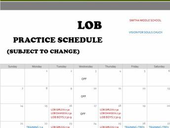 2021 March Practice Schedule
