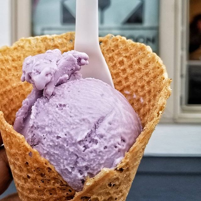Vegan Ube Ice Cream in a Vegan Waffle Cone
