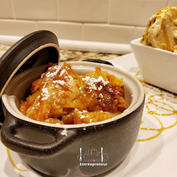 PEACH COBBLER BREAD PUDDING__Warm house
