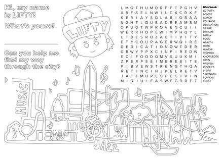 Kids' activity placemat
