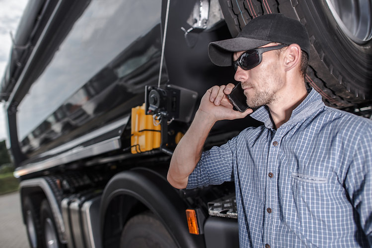 Truck Driver Making Business. Dealing wi