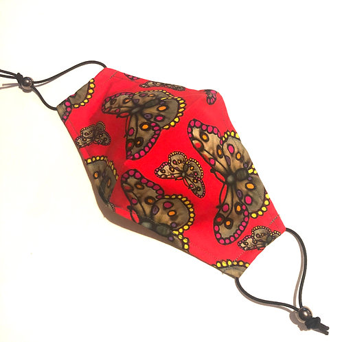 The  Butterfly Face Covering RED -Small Children's and Medium Ladies
