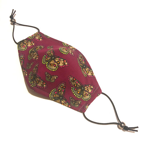 The  Butterfly Face Covering PLUM - Small Children's and Medium Ladies