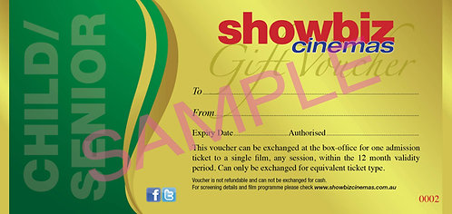Showbiz Cinemas Child/Senior Voucher
