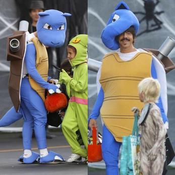 Blastoise Halloween Pokemon costume for Anthony Kiedis, lead singer of the Red Hot Chili Peppers, 2015