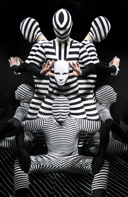 Stripe jumpsuits, shot in a mirror room. 2017