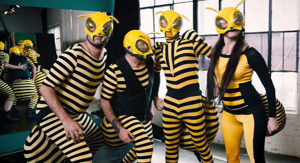 """Simple bee costumes for Beats Antique's music video """"Killer Bee' 2016"""
