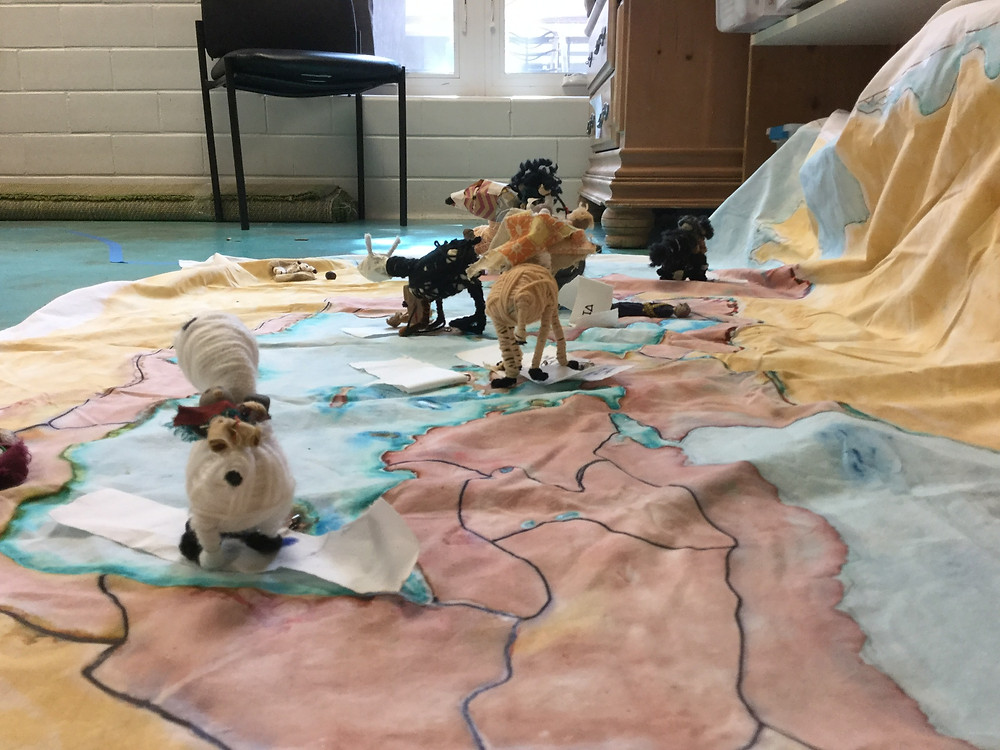 Peeps and their beasts of burden, milling about on the map - wondering what to do next. Perhaps a traveling cart or a boat? And will there be room to pack Tradesmens Tools and personal items? And when does the trip begin?