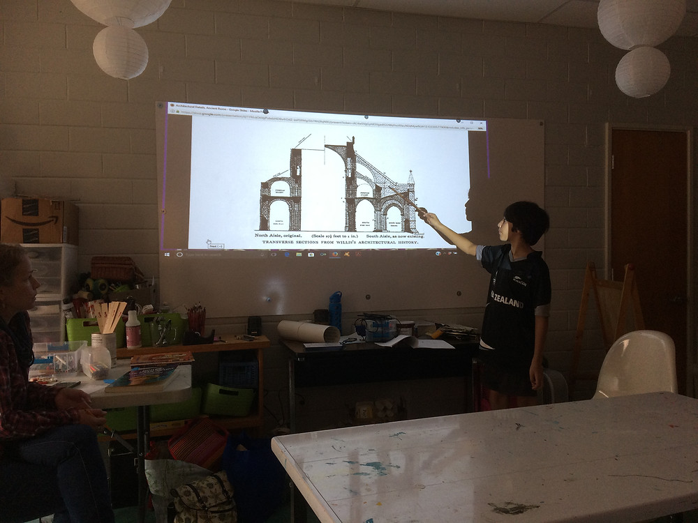 Explaining how arches work, and how this structure uses repeating patterns and portions of arches to create an overall effect.