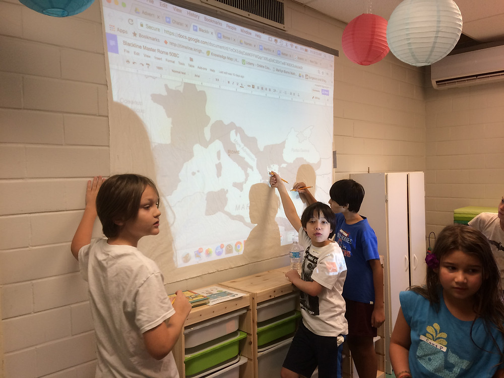 Villagers traced a map of the vast expanse of the Roman Republic onto a cloth, which will later be adorned with color, labeled and used as a gathering place for all sorts of information.