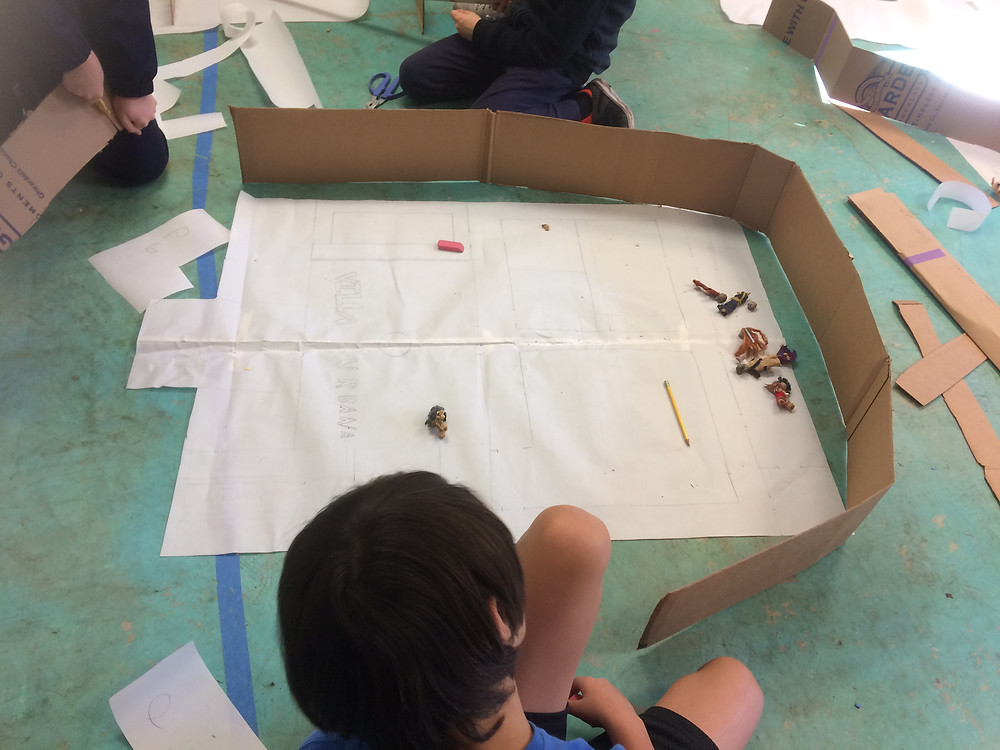 Once the blueprints and overall layout were complete the various teams began the cardboard models of the estate.