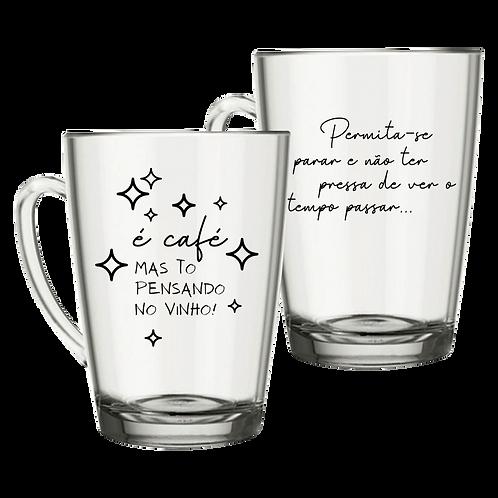 Canecas de Vidro Personalizada Modelo Tarsila para Café ou Chá 300ml